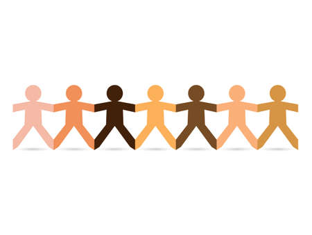 Paper chain cut out people in different skin tone colors