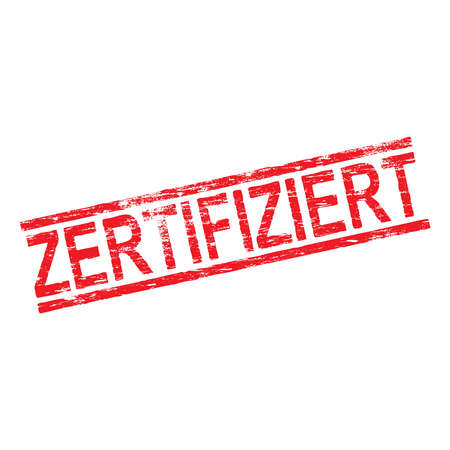 certificated: Zertifiziert grungy red rubber stamp vector illustration Illustration
