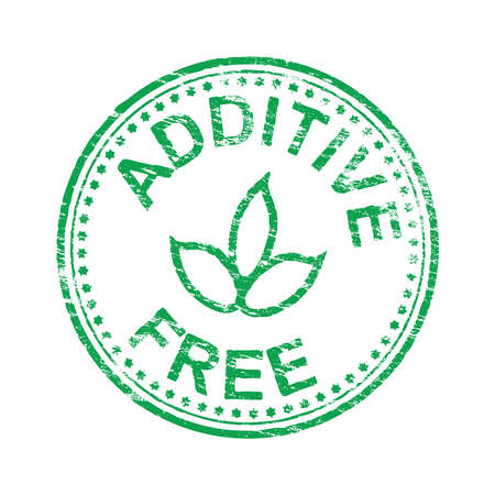 preservative: Round additive free grungy rubber stamp vector illustration