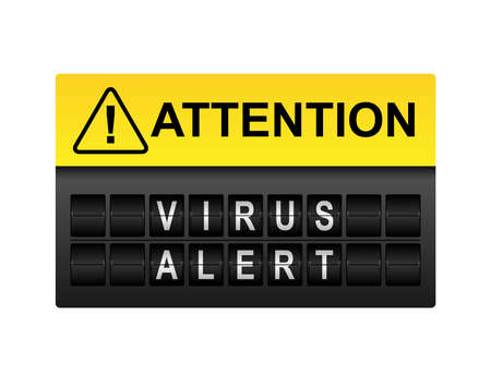 internet protection: Attention virus alert warning in mechanical display letters
