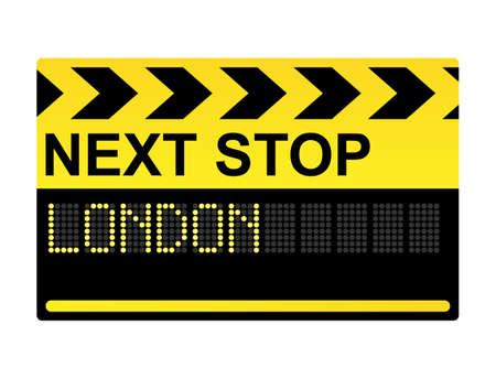 tourists stop: Next stop London mechanical display transport sign