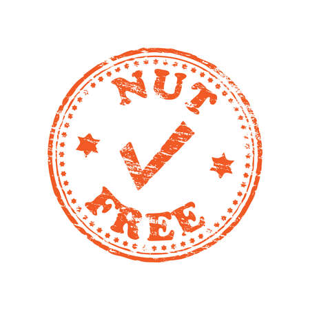 nuts: Nut free round rubber stamp vector illustration