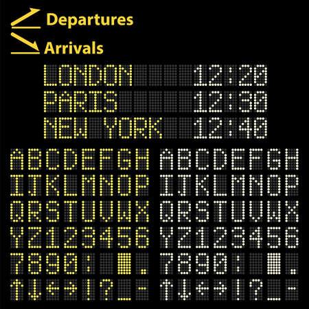 arrivals: Airport mechanical Led display arrivals and departures board  Illustration