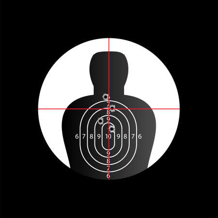 holes: Torso target in cross hair with bullet holes  Illustration