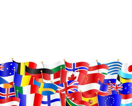 흰색 배경에 많은 다른 나라의 깃발