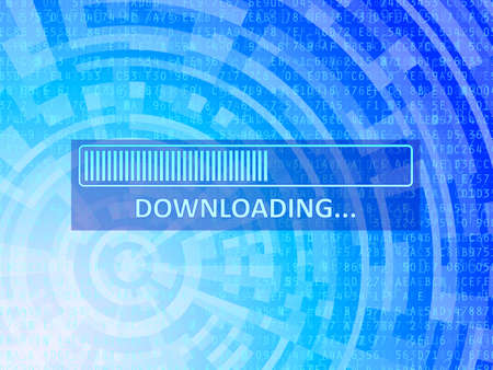Downloading bar on blue data technology background