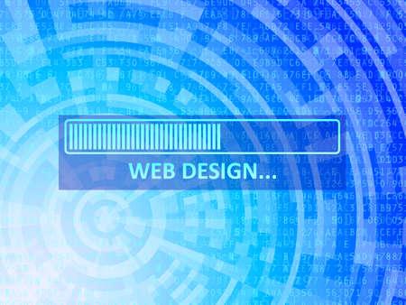 Web design data bar on blue technology background Illustration