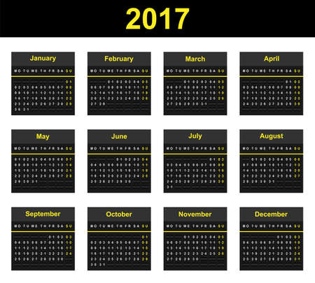 Full year wall planner for 2017 in airport mechanical display board style
