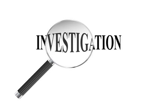 Investigation word viewed under magnifying glass illustration