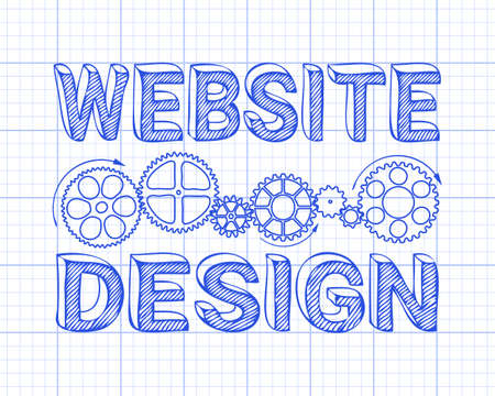 industrial machinery: Website design in hand drawn letters with gear wheels on graph paper Illustration