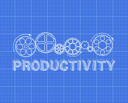 machinery machine: Hand drawn productivity and gear wheels on blueprint  Illustration