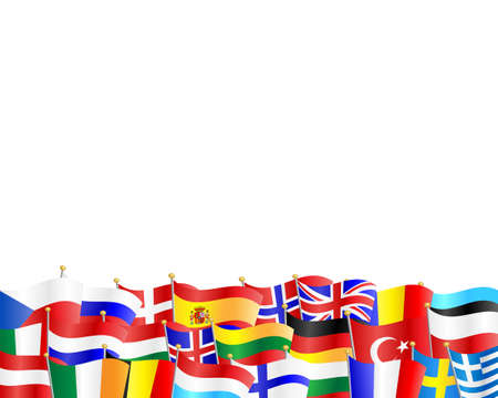 Flags of different European countries against white background