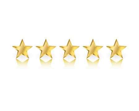 Cinco estrellas de oro con la reflexión sobre fondo blanco Foto de archivo - 70071629