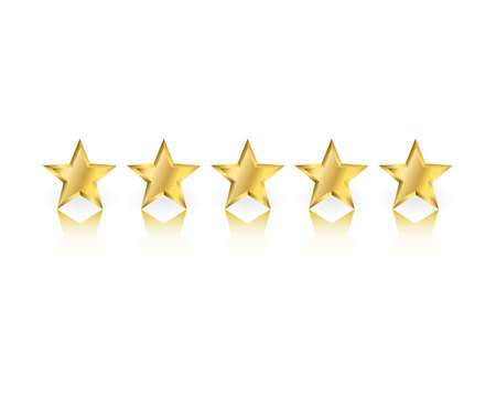 Five gold stars with reflection on white background