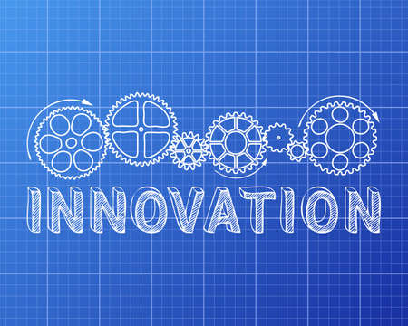 invent: Innovation text with gear wheels hand drawn on blueprint background Illustration