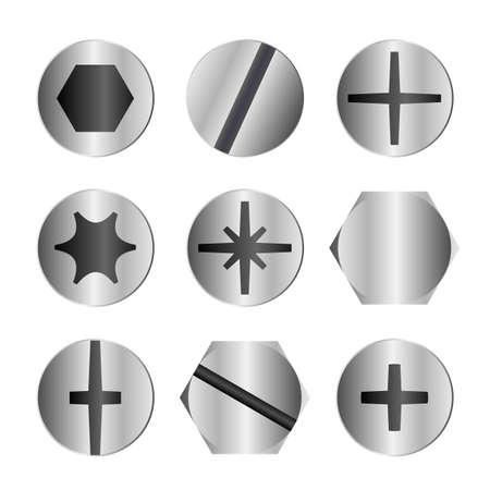 Verschillende metalen bout en schroef types hoofd Stock Illustratie