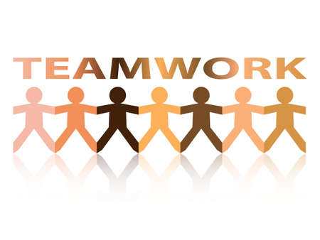 Teamwork cut out paper people chain in different skin tone colors