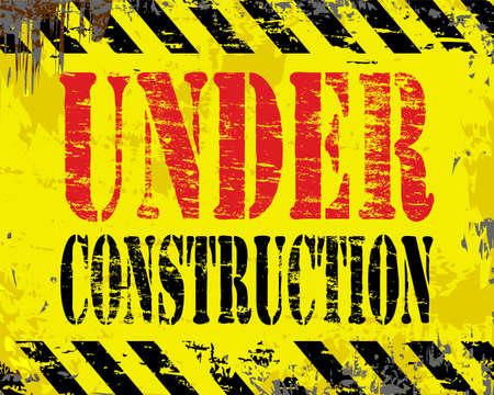 beaten: Under construction rusty old enamel sign illustration Illustration