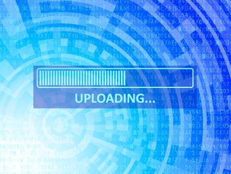 Uploading bar on blue data technology background  Stock Photo