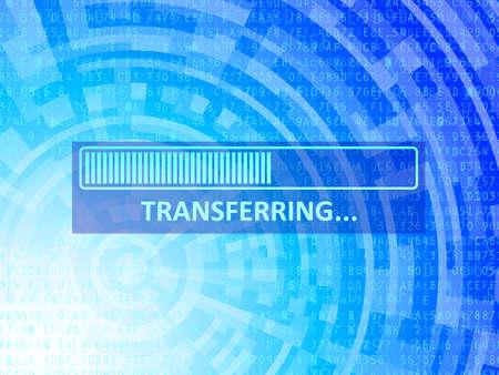 transferring: Transferring bar on blue data technology background