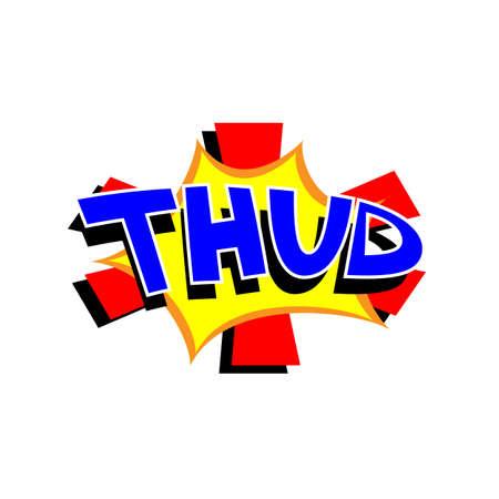 funny: Cartoon thud colorful text caption vector illustration  Stock Photo