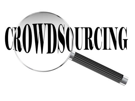 crowd source: Crowdsourcing text viewed under magnifying glass illustration  Stock Photo