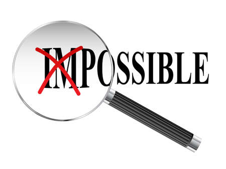 Impossible, possible text viewed under magnifying glass illustration Ilustração