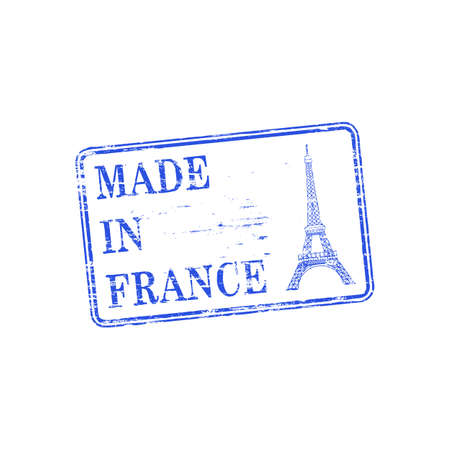 made: Made in France with Eiffel Tower grungy rubber stamp illustration