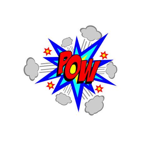 pow: Cartoon pow sound colorful text caption vector illustration