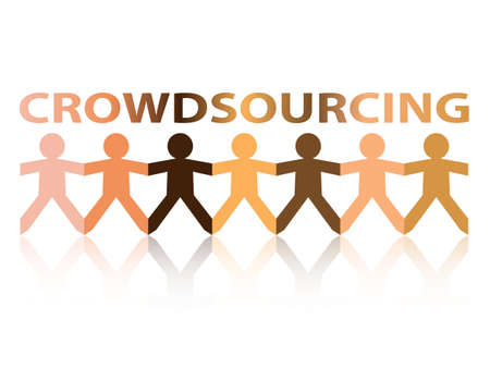 Crowdsourcing cut out paper people chain in different skin tone colors Illustration