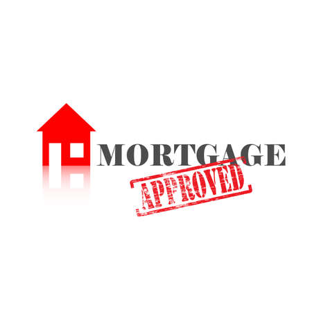Mortgage word with approved stamped across it and house icon Vettoriali