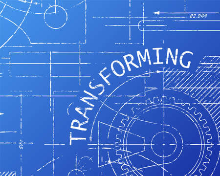 machinery machine: Transforming word on machine blueprint background illustration