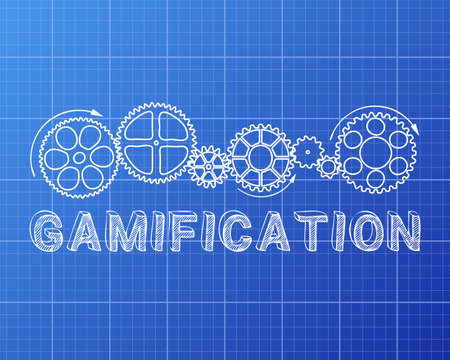 machinery machine: Gamification text with gear wheels hand drawn on blueprint background