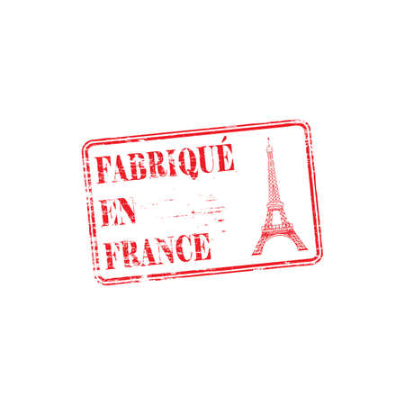 european: Made in France, fabrique en France with Eiffel Tower grungy rubber stamp illustration