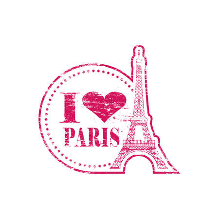 i love paris: I love Paris heart with Eiffel Tower grungy rubber stamp illustration Illustration