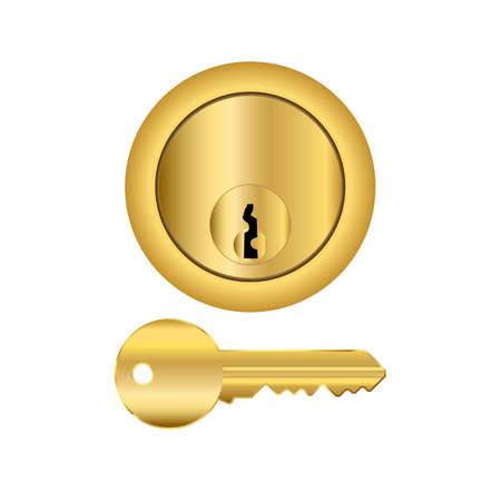 Brass cylinder type lock with key illustration