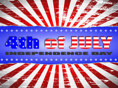 forth: Forth of July Independence Day red white and blue banner Illustration