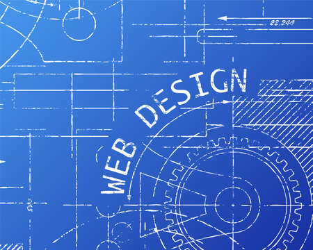 site backgrounds: Hand drawn web design sign and gear wheels machine on blueprint Illustration