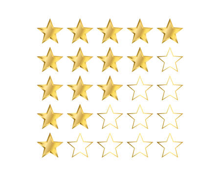 One to five gold star ratings