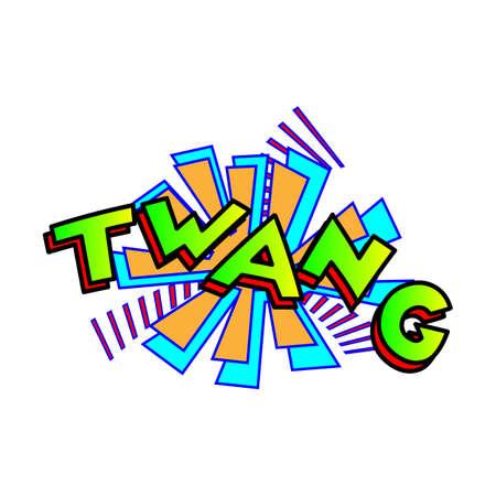 Cartoon twang colorful text caption illustration