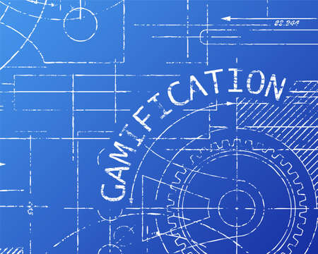 Gamification word on machine blueprint background illustration Çizim
