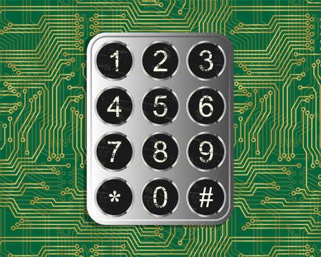 computer keys: Metal vintage keypad on green circuit board background