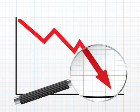 Magnifying glass over dropping sales graph illustration