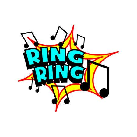 ringer: Cartoon ring tone colorful text caption illustration