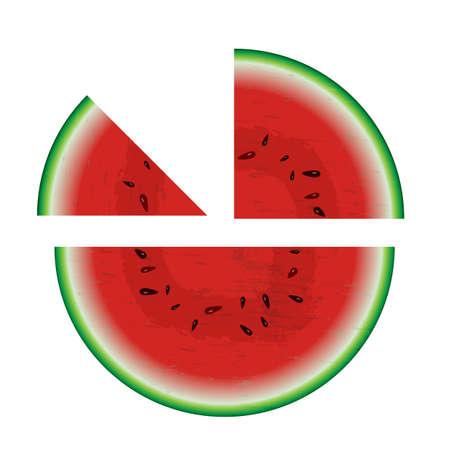 half: Melon cut into half, quarter and eighth segments Illustration