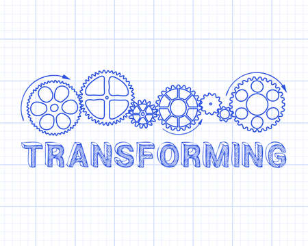 adapting: Transforming text with gear wheels hand drawn on Graph Paper background