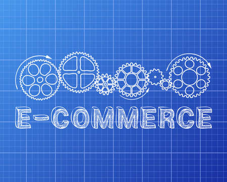 business funds: E Commerce text with gear wheels hand drawn on blueprint background