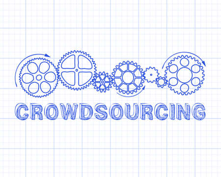 Crowdsourcing text with gear wheels hand drawn on Graph Paper background