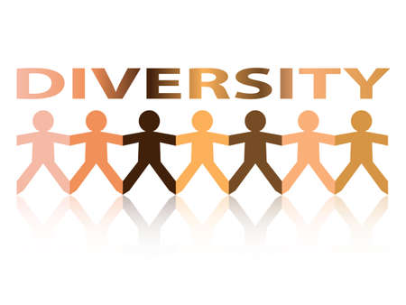 Diversity cut out paper people chain in different skin tone colors