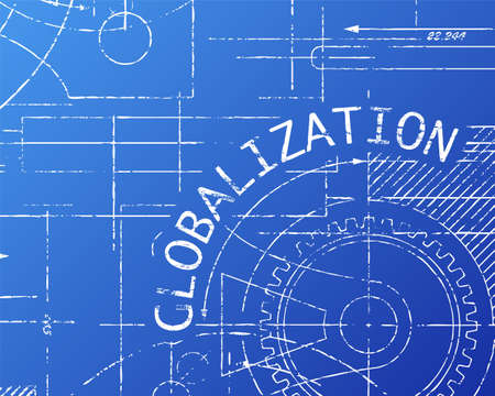 diversify: Globalization word on machine blueprint background illustration